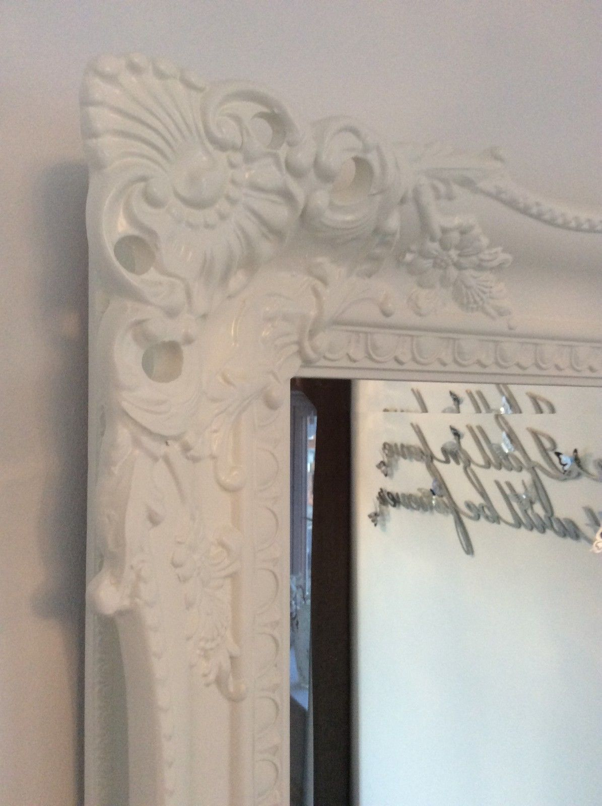 X Large White Shabby Chic Ornate Decorative Wall Mirror